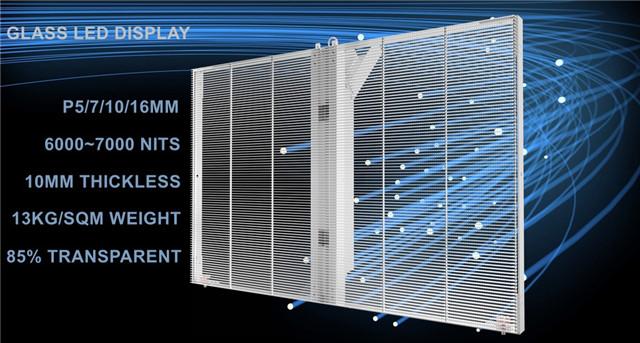 Glass LED display screen