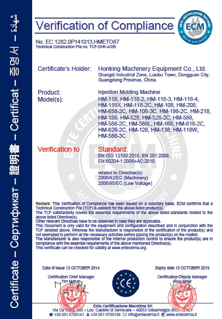 CE Certificate of Honking Machinery