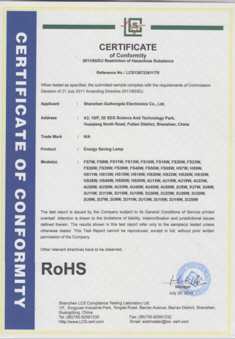 RoHS certification of CFLs