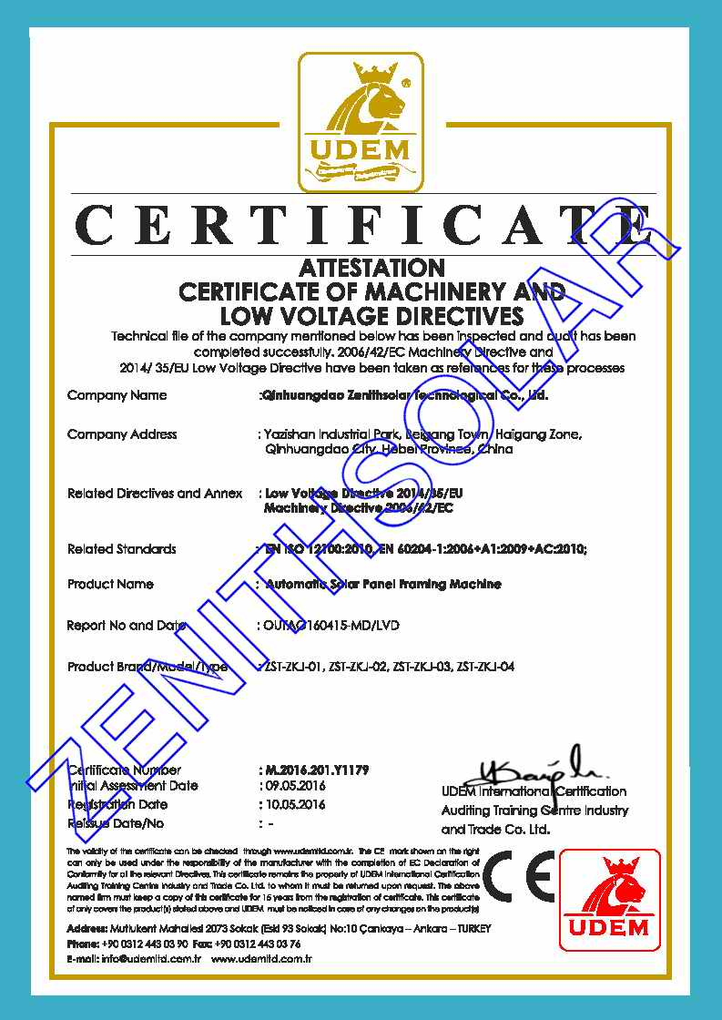 FRAMING MACHINE CERTIFICATE