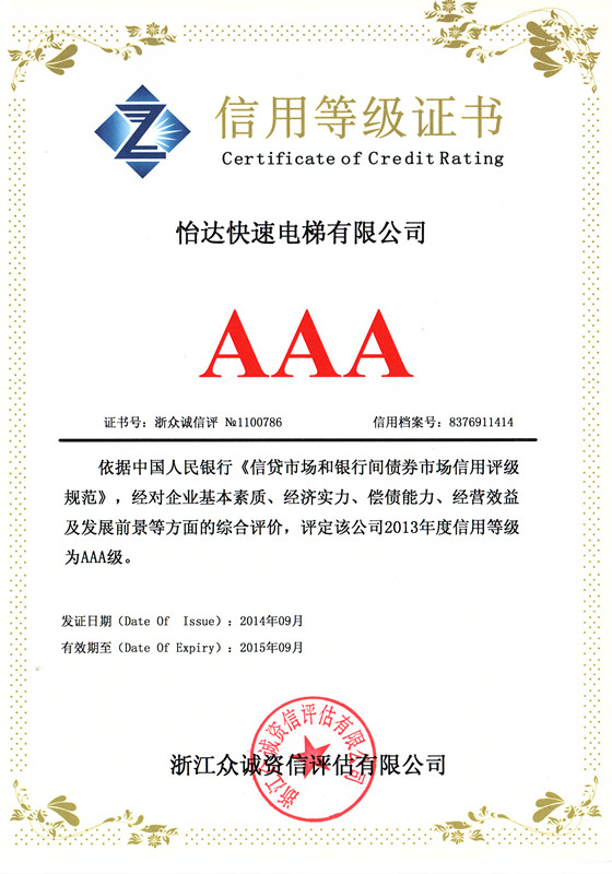 certificate of credit