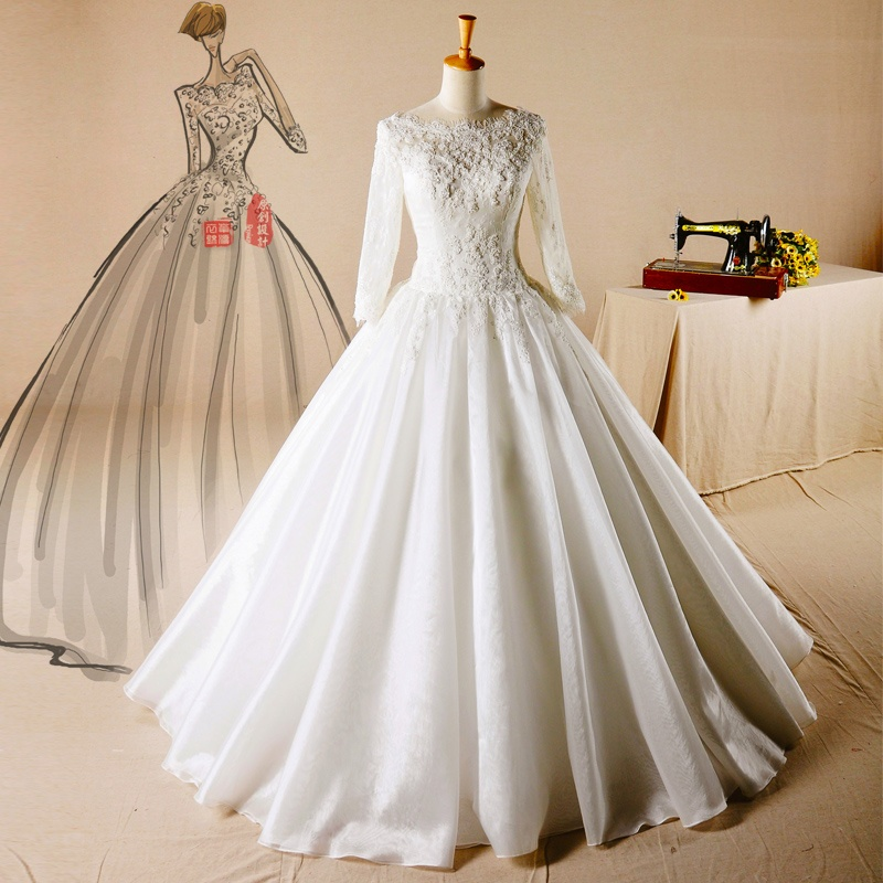 Customized Bridal Wedding Dress Long Sleeves Muslim Wedding Gowns Factory