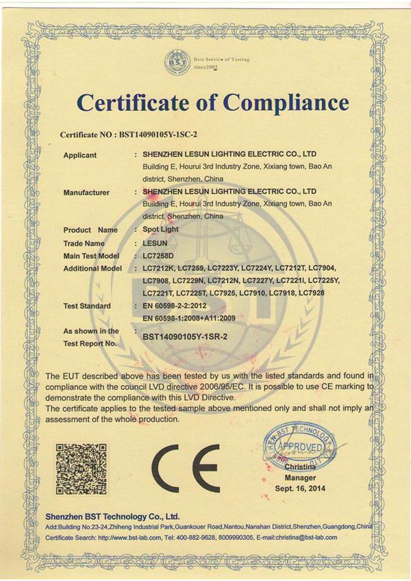 CE(LVD) of LESUN Spotlight