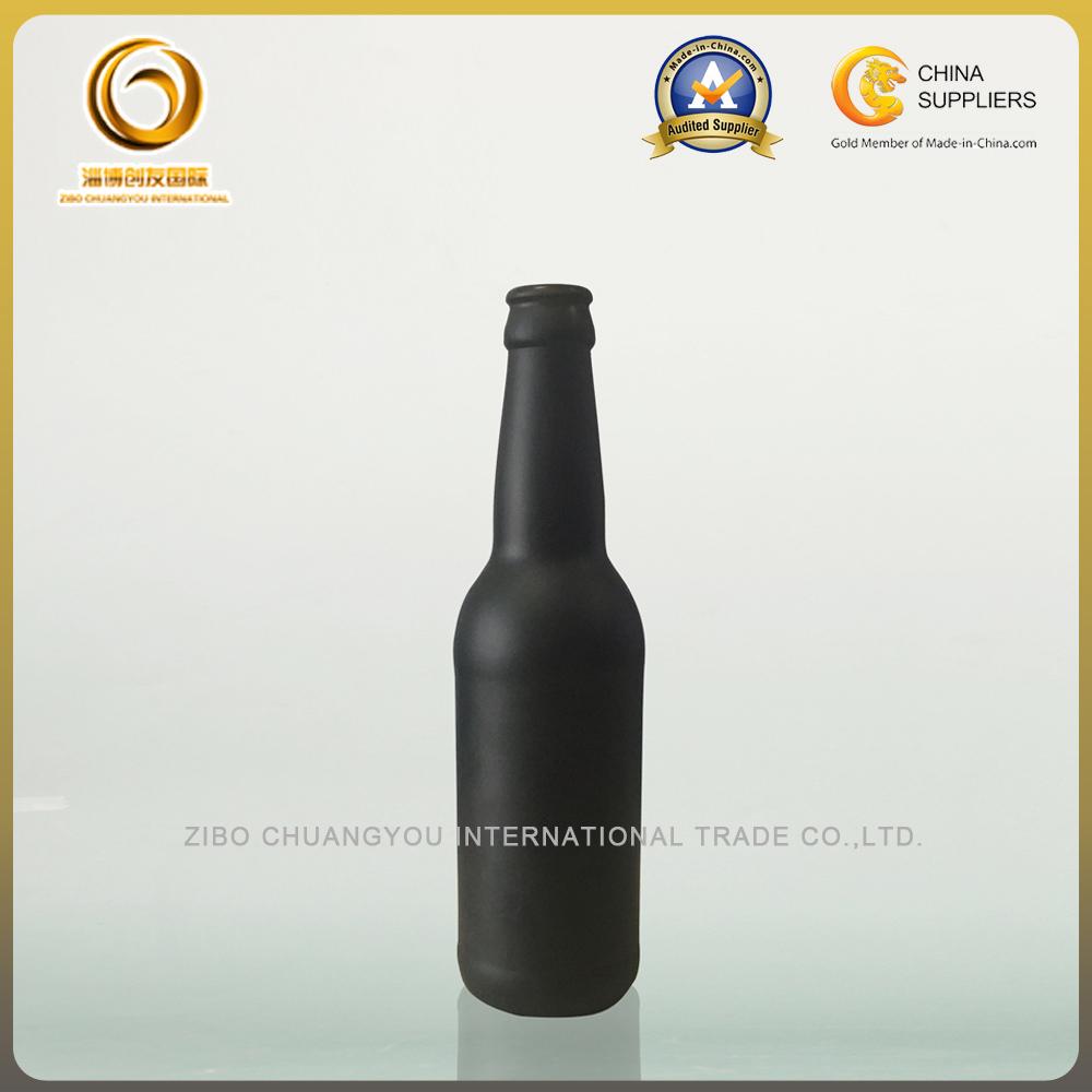 Matte black 330ml glass beer bottles