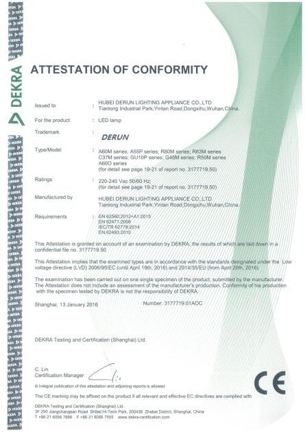 Dekra CE Certificate for LED Bulbs