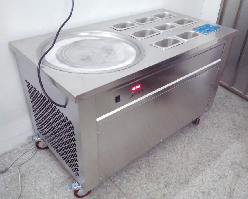 Round pan ice cream roll machine with 9 toppings