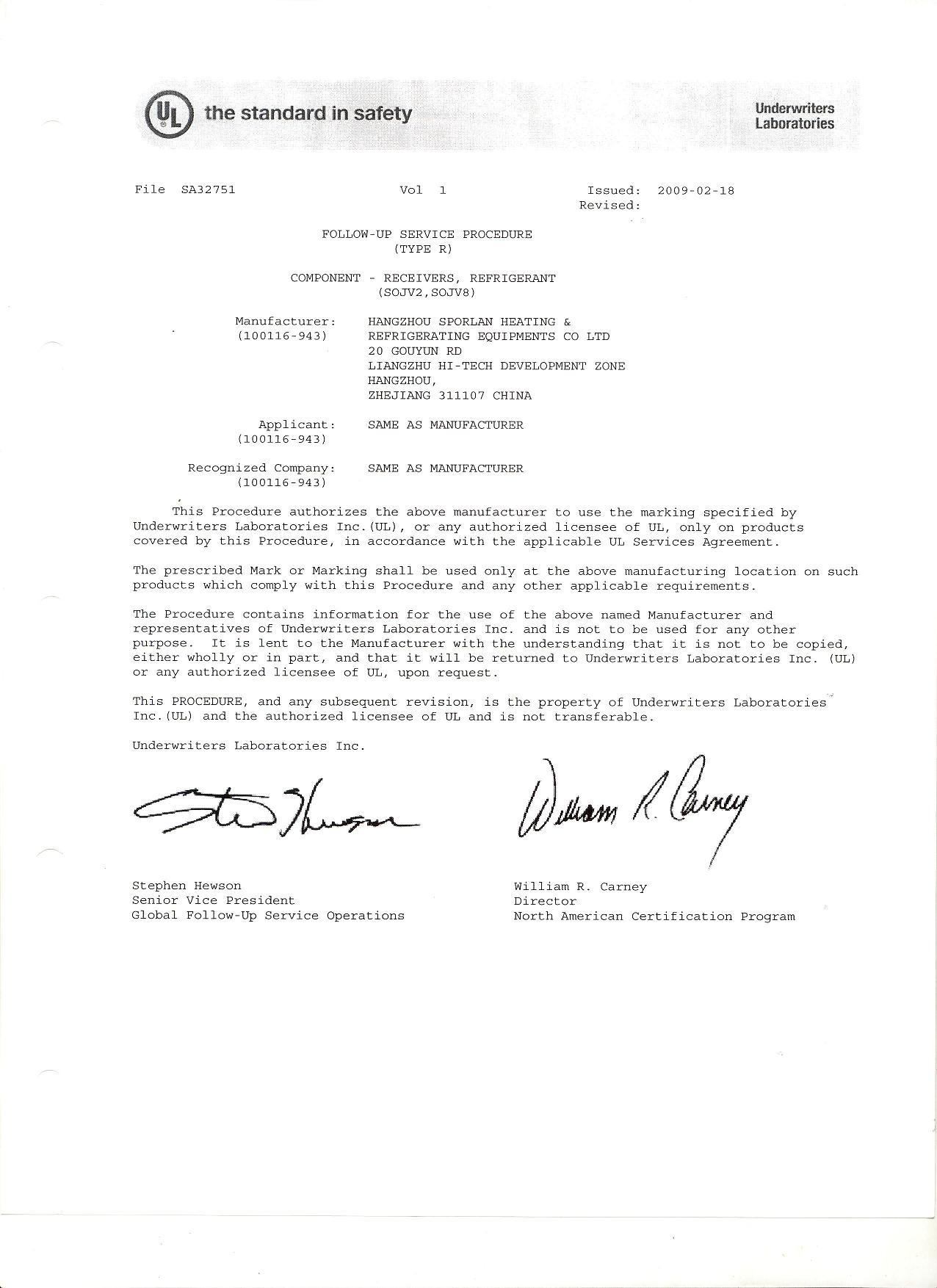 SA32751 UL certificate for accumulator