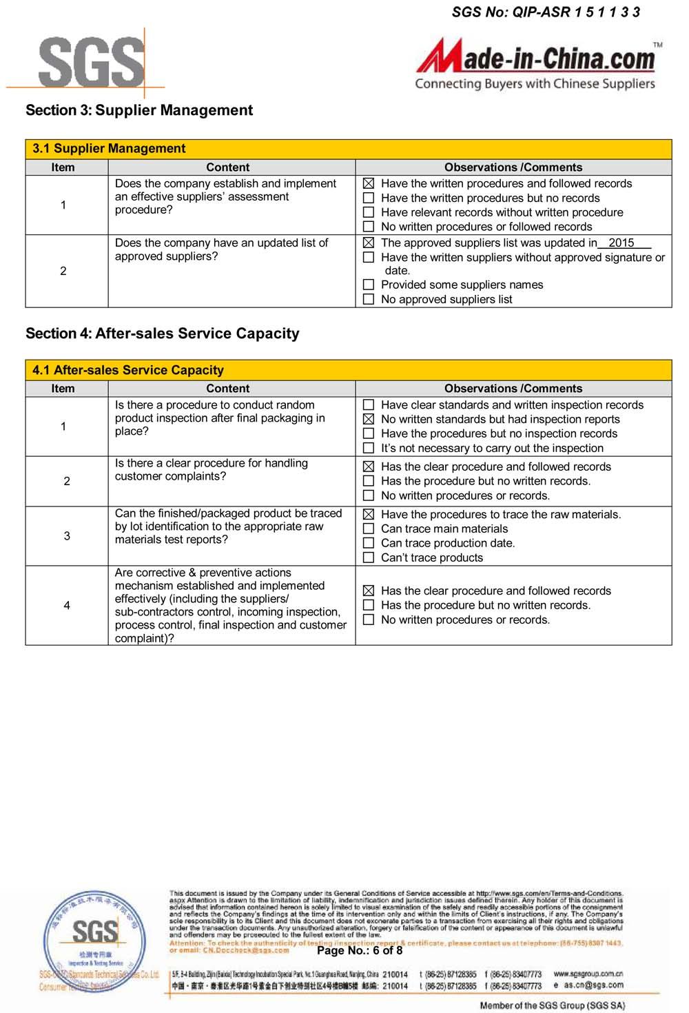 SGS Inspection Report Supplier Management
