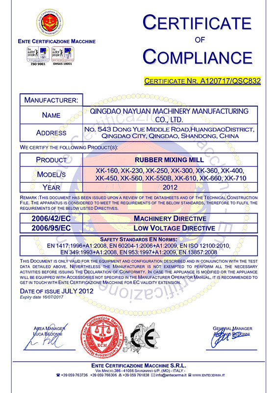 CE Certificate for Rubber Mixing Mill