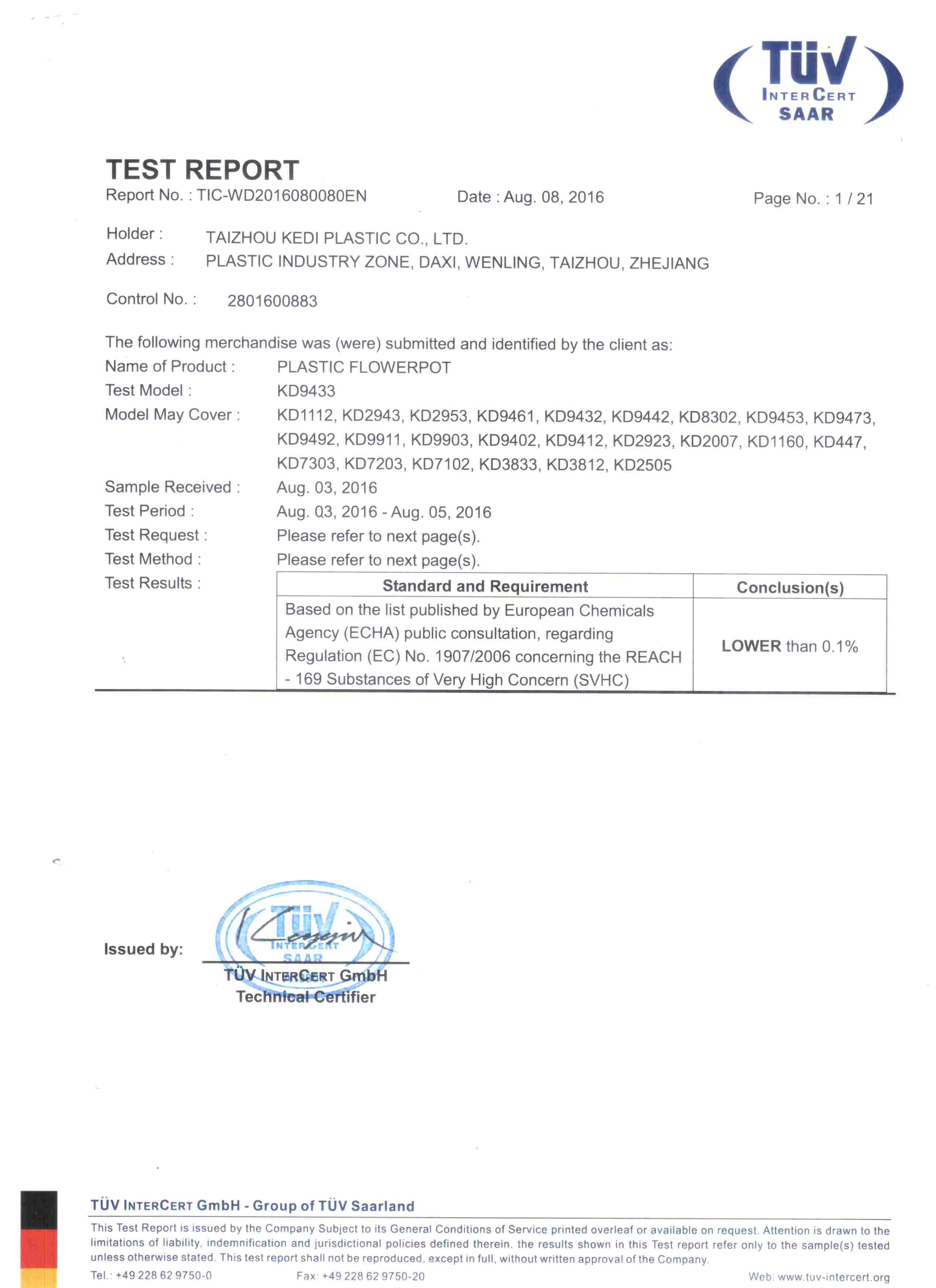 SVHC Certification