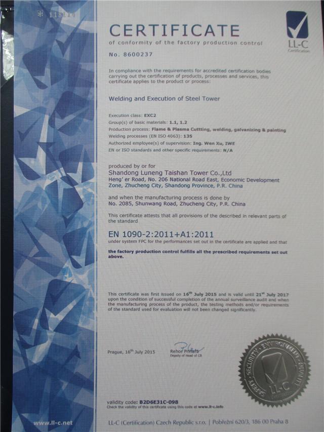 Ce certificate :En 1090-2