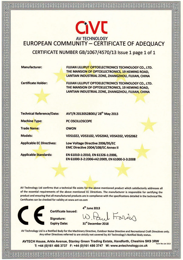 CE Certification of VDS series