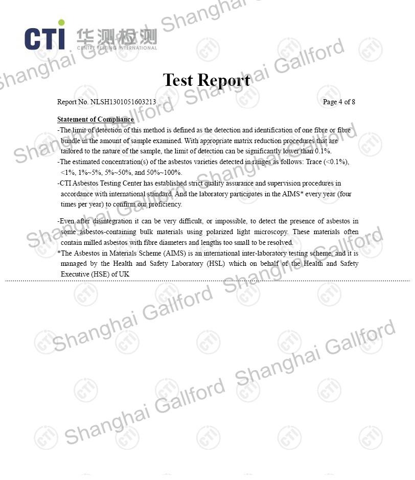 Test Report -NON-ASBESTOS