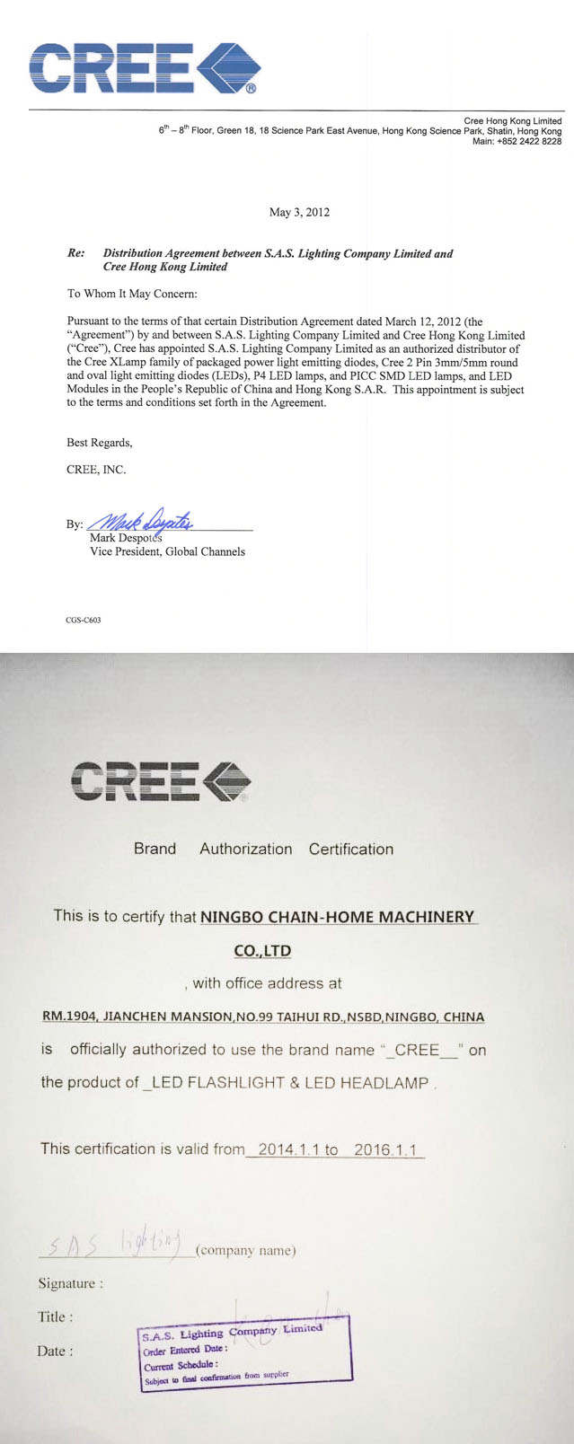 CREE LED Authorization Certification
