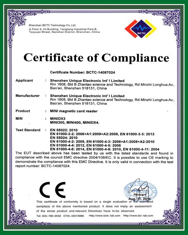 CE certificate for Mini300