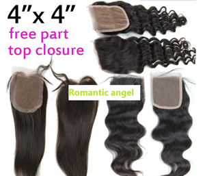 Bliss Hair 4X4 Lace Closure Three/Free/Middle Part Top Swiss Lace Closure Straight