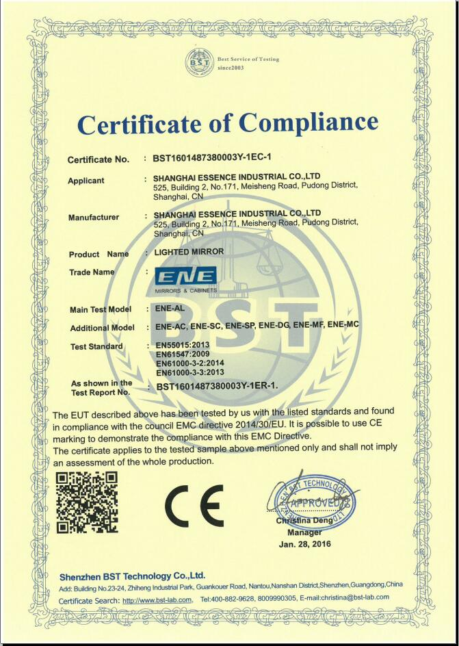 CE Certifications for Lighted mirror