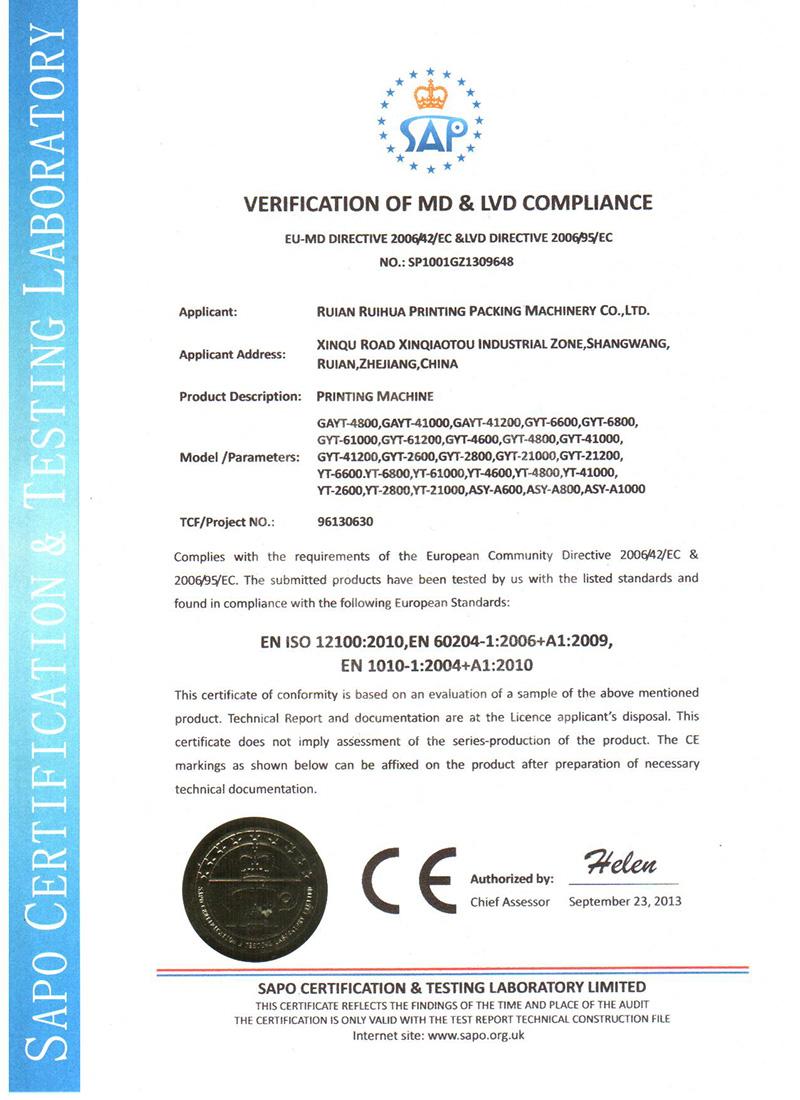 Printing Machine CE Certificate