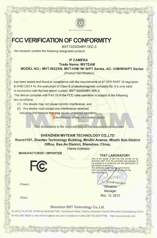 FCC of IP camera