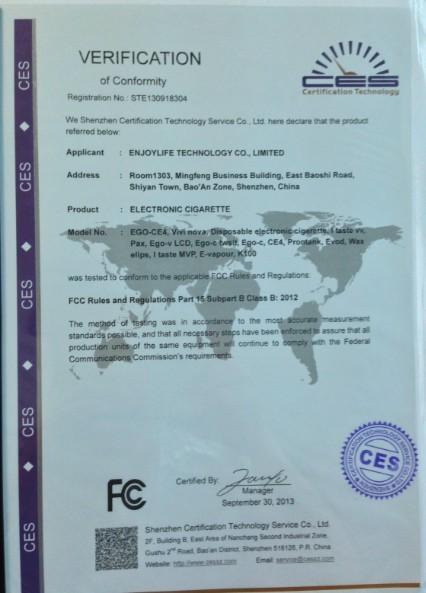 enjoylife e cigarette certificate