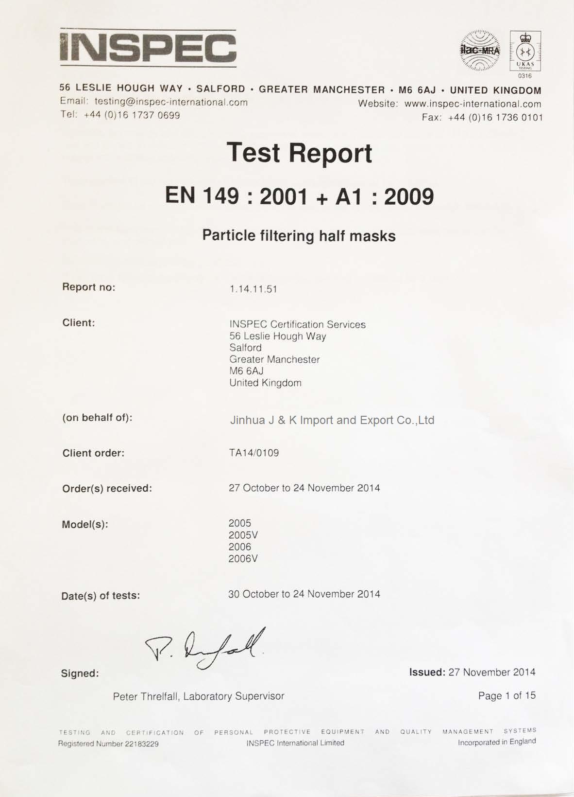 EN 149:2001+A1:2009 for Dust Mask