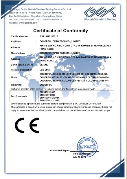 CE-EMC certificate for Led strip