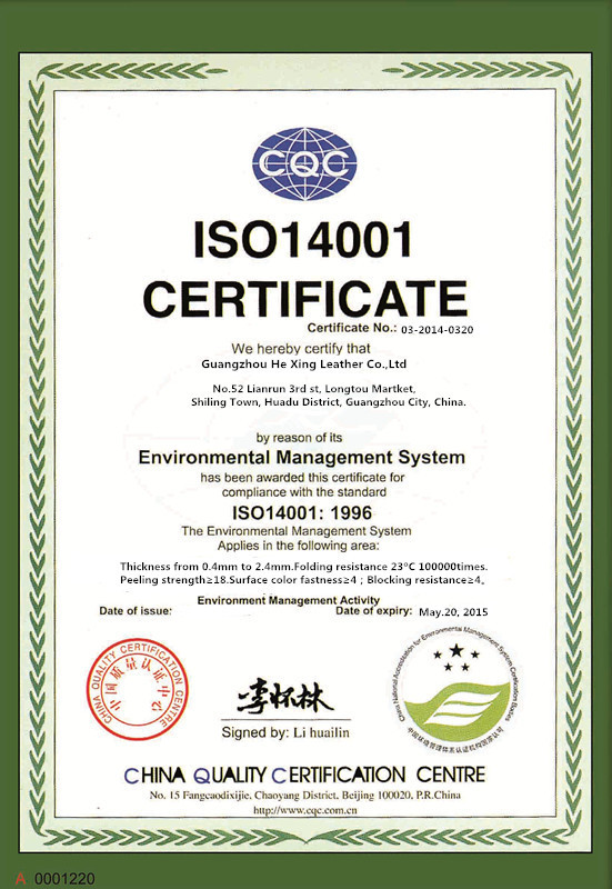 Our certification ISO 14001