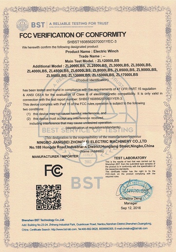 FCC VERIFICATION of CONFORMITY for ELECTRIC WINCH
