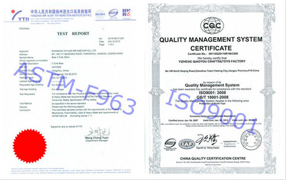 ASTM-F963 Product certificate&ISO9001 Factory Certificate