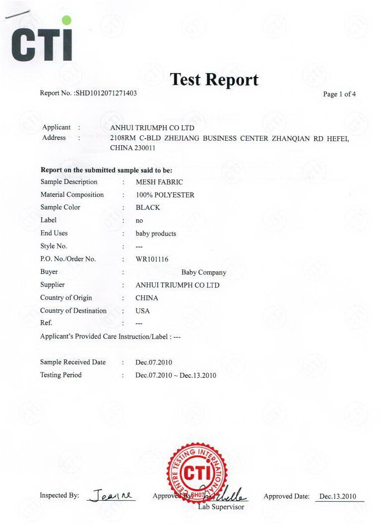 CTI certificate for mesh fabric