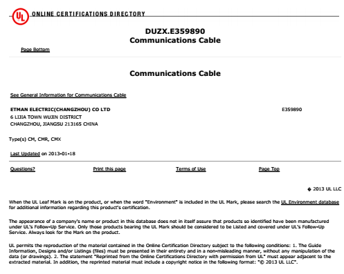 UL certificate for Net cable