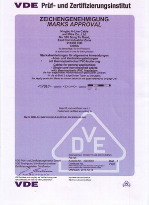 eletrical wire VDE certification