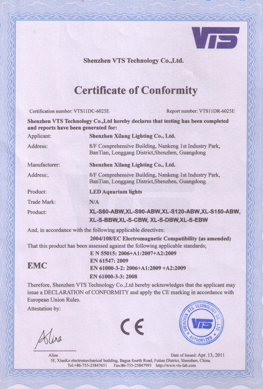 LED Aquarium Light CE Certification