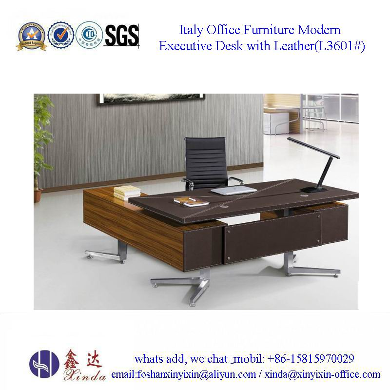 Italy Office Furniture Modern Executive Desk with Leather