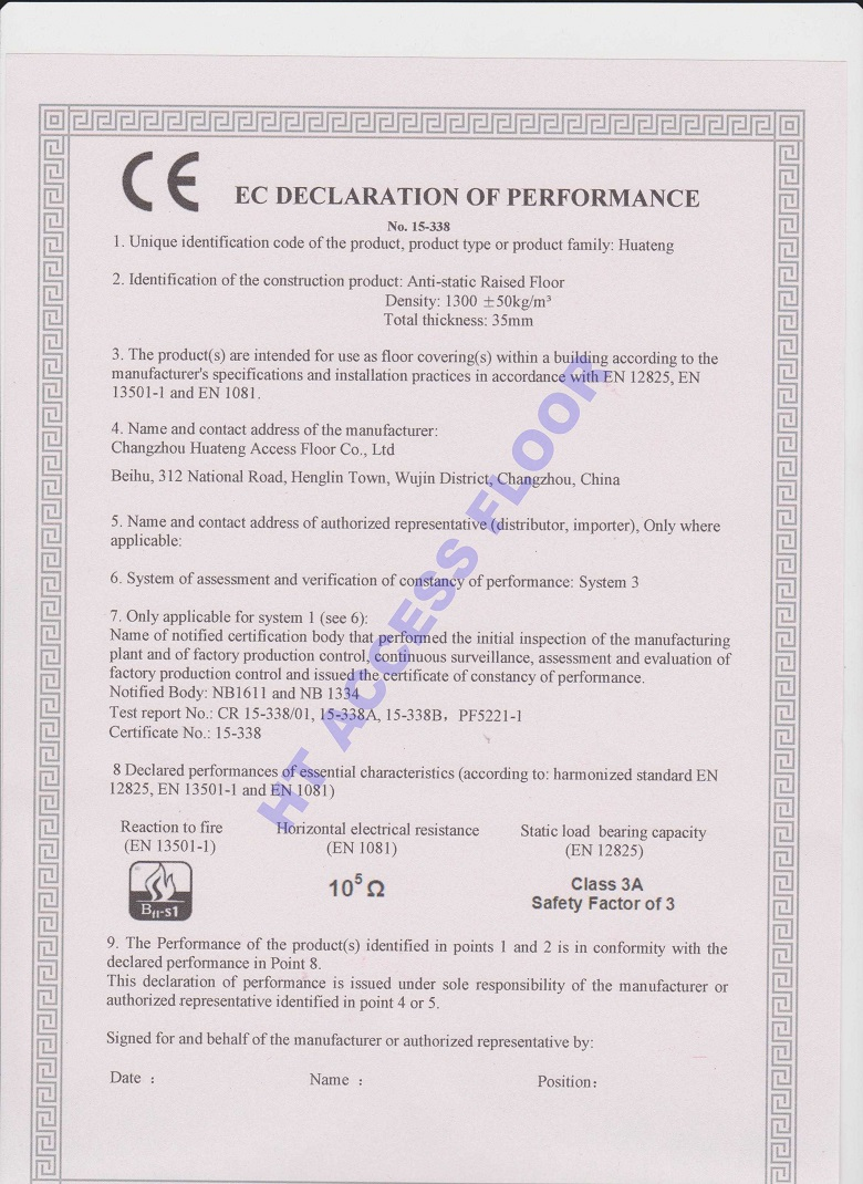 CE Certificate of Raised Access Floor System