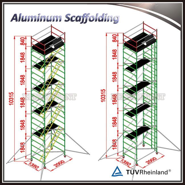 adjustable aluminum mobile scaffolding for construction
