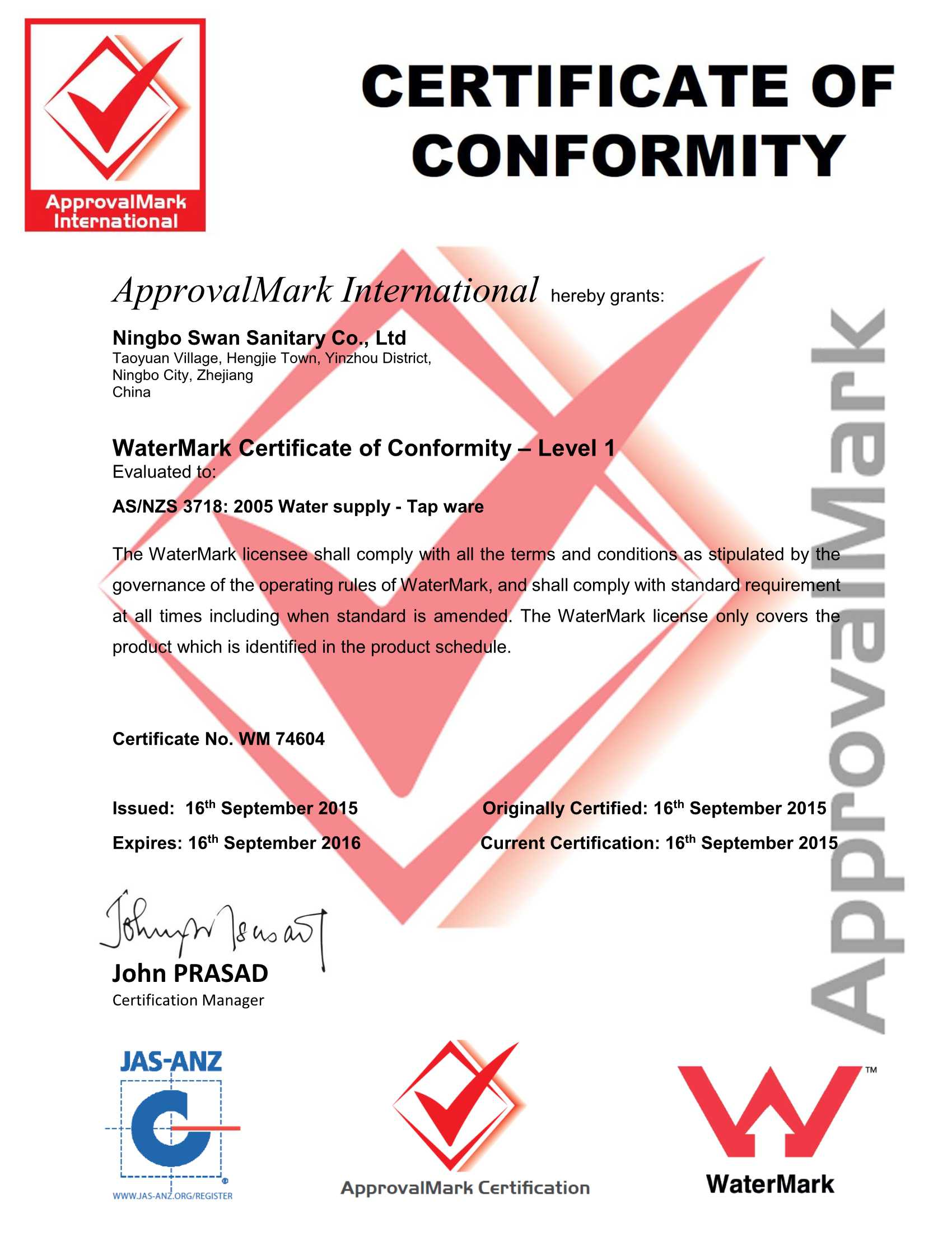 Water Mark certificate
