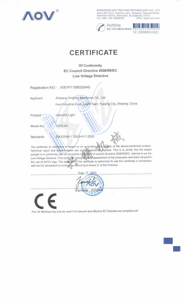 CE approved certificate of LED indicator lamp