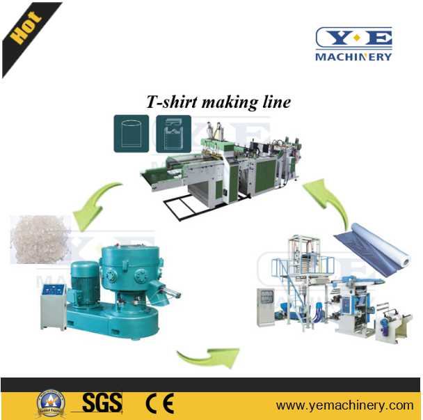 T-shirt shopping bag making line