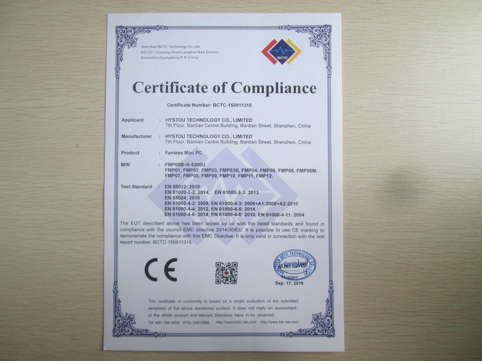 CE Certificate of fanless mini pc