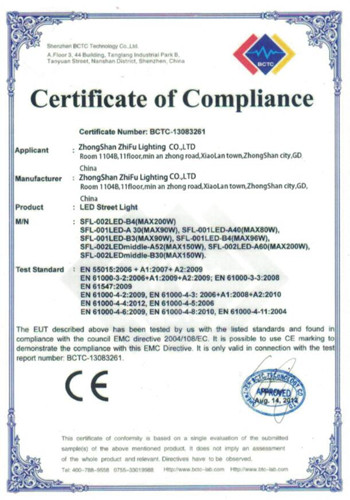 CE of LED street light 2013