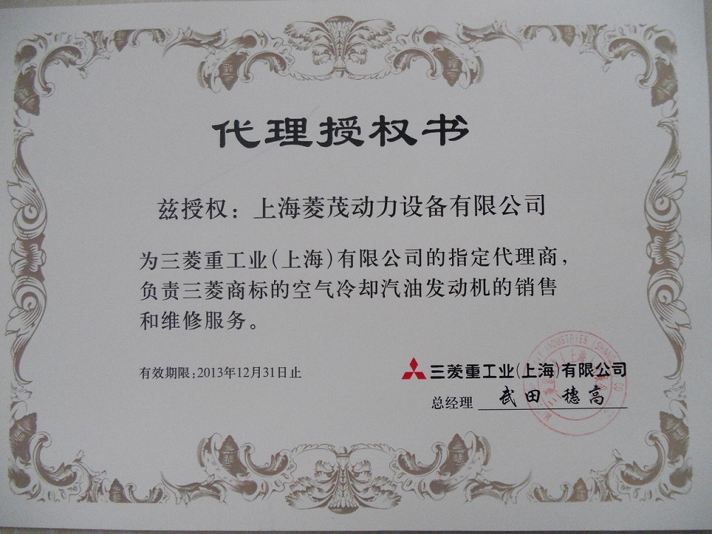 The Exclusive Agent of Mitsubishi Gasoline Engine in China 2013