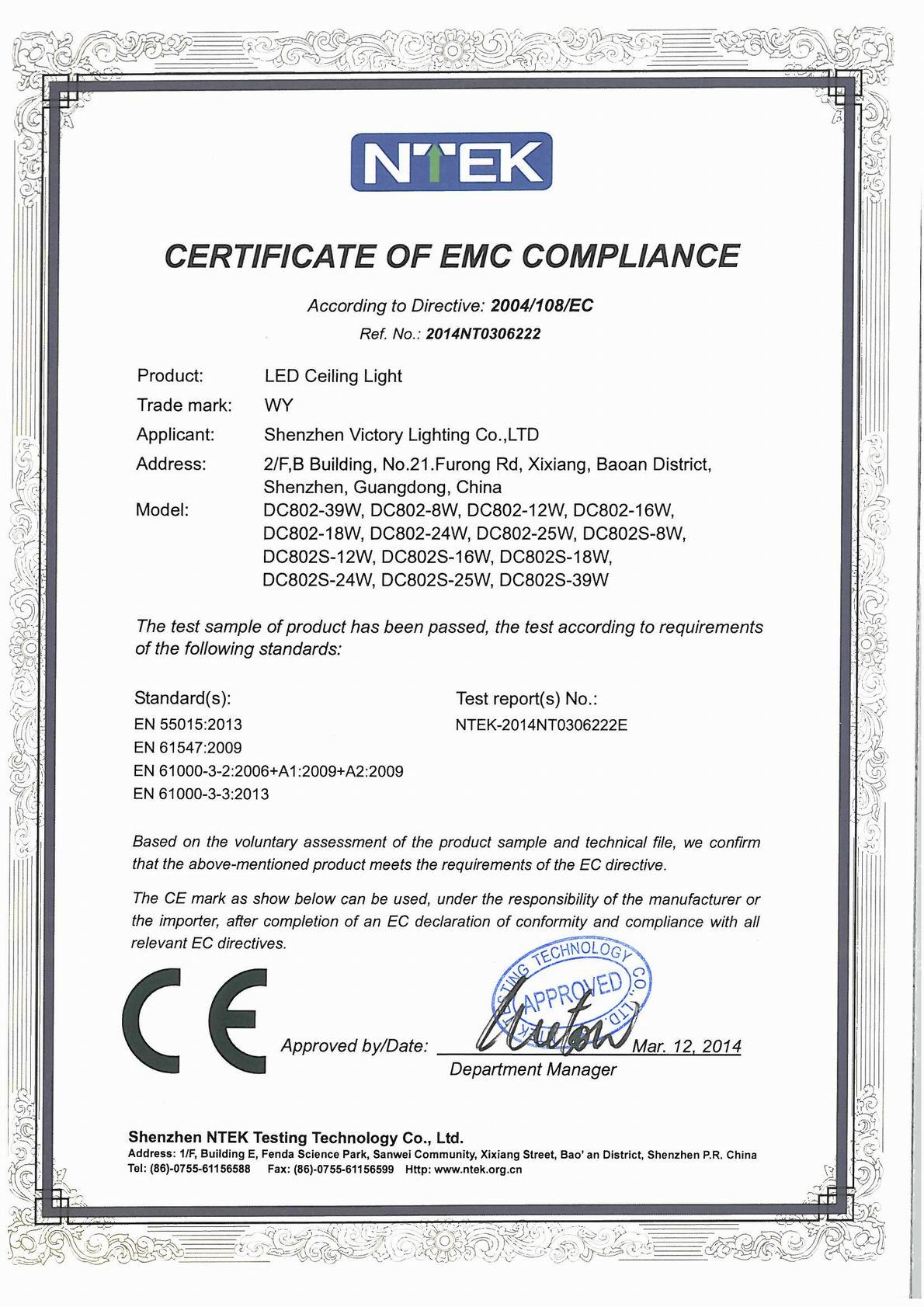 LED CEILING LIGHT CE(EMC) CERTIFICATION
