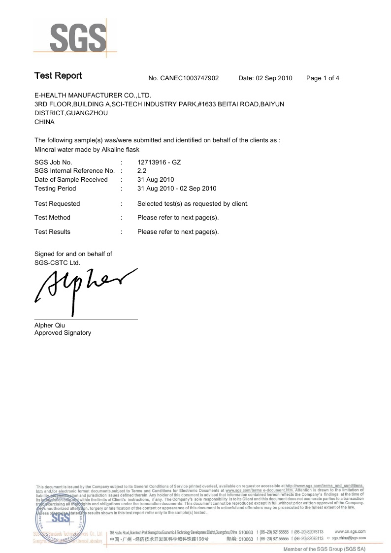 Alkaline Water Flask SGS Certificate page 1