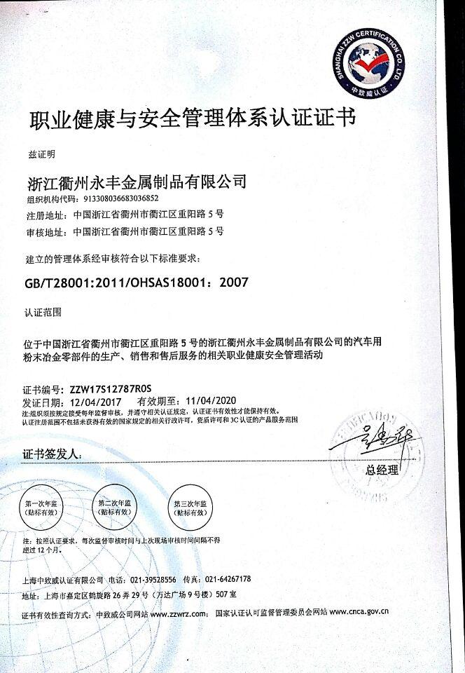 YONGFENG OHSAS18001:2007