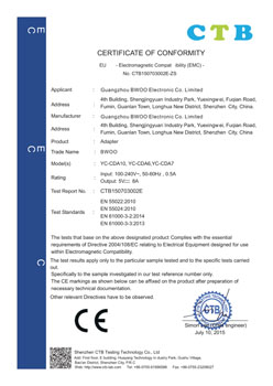 CE certificate of Adapter