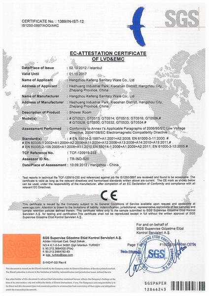Shower Room CE Certificate