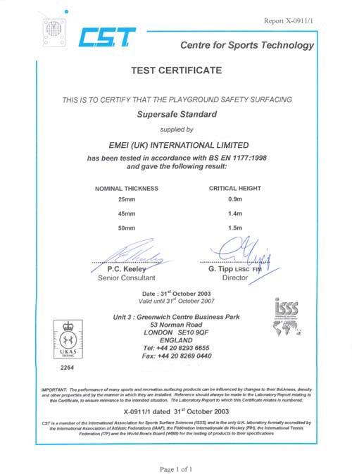 EN1177 Certificate
