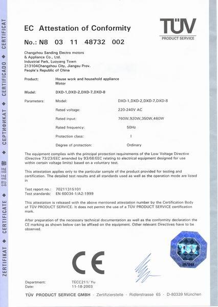 CE Certificate of DXD Bathtub Pump