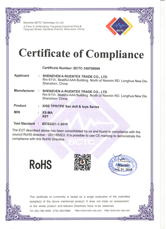 ROHS certification of Sex toys